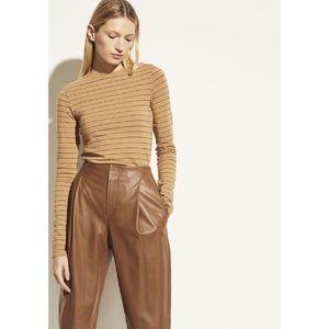 Vince Pinstripe Long Sleeve Crew Cotton-Wool Top
